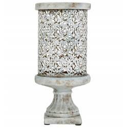 Photophore Bougeoir Lampe Porte Bougie avec Socle en Terre Cuite et Fresque en Métal 14,5x14,5x32cm