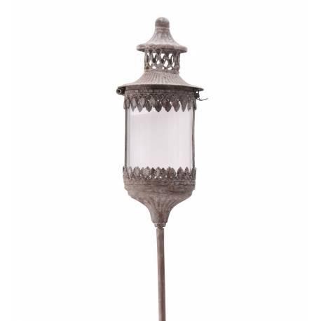 Lanterne Ronde Sur Pic à Piquer Planter Lampion Porte Bougie Luminaire Intérieur Extérieur en Fer Gris Antique 13,5x13,5x131cm