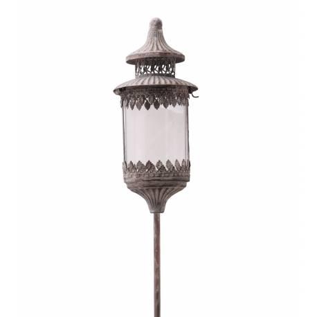 Lanterne Ronde Sur Pic à Piquer Planter Porte Bougie Lampion Luminaire Intérieur Extérieur en Fer Gris Antique 13,5x13,5x131cm