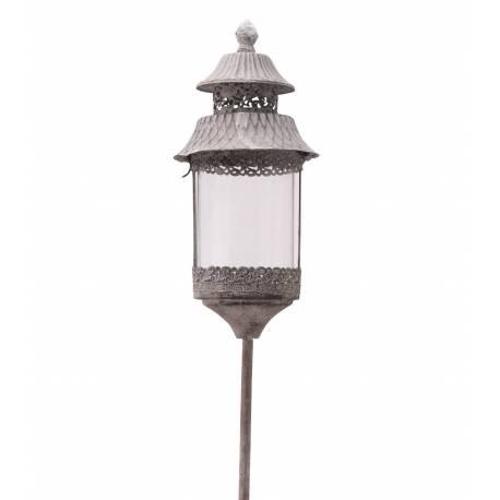 Lanterne Ronde Sur Pic à Piquer Planter Porte Bougie Lampion Luminaire Extérieur Intérieur en Fer Gris Antique 13,5x13,5x131cm