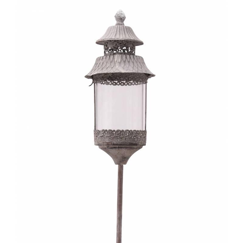 Lanterne ronde sur pic piquer planter porte bougie for Lanterne avec bougie exterieur