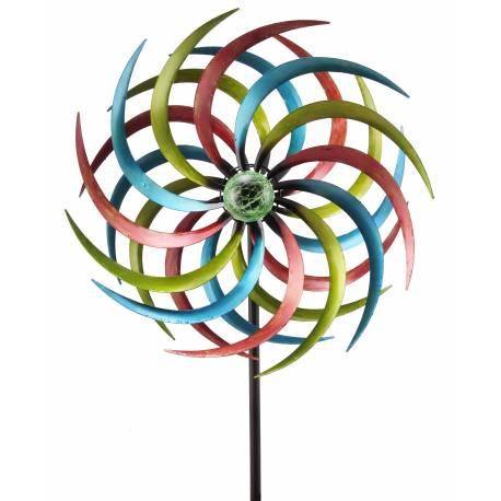 Grand Mobile Solaire Pic Tuteur de Jardin Lumineux Moulin a Vent en Fer Coloré et Boule en Verre Craquelé 21x46x186cm