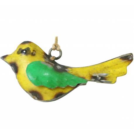 Oiseau à Suspendre Oisillon Décoratif Objet de Décoration Suspendu en Métal Jaune et Vert 3x5x10cm