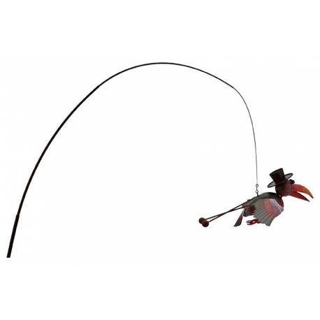 Oiseau Corbeau Suspendu Pic de Jardin Style Canne à Pêche Mobile Déco Extérieur 34x90x200cm