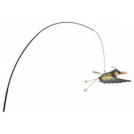Oiseau Volatile Suspendu Pic de Jardin Style Canne à Pêche Mobile Déco Extérieur 33x90x200cm