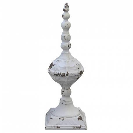 Obélisque Epis de Faitage Décoratif en Fer Patiné Blanc à l'Ancienne 12,5x12,5x38cm
