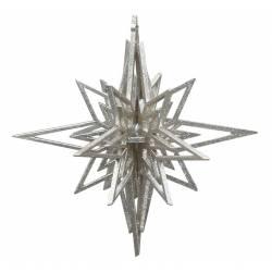 Etoile à Suspendre Décoration de Sapin de Noël en Résine Pailletée Argentée 14x14x14cm