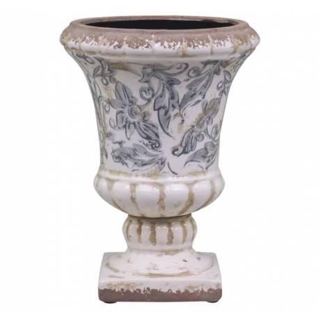 Jolie Vasque Style Antique Ancien Vase Intérieur Jardinière en Terre Cuite  Emaillée Blanche Motifs Bleus 17,5x17,5x24cm