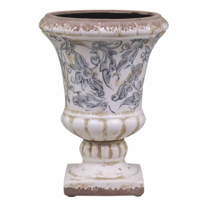 jolie vasque style antique ancien vase int rieur jardini re en terre cuite emaill e blanche. Black Bedroom Furniture Sets. Home Design Ideas