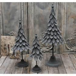 Bel Arbre de Noel Déco Magnifique Sapin Article de Décoration à Poser en Métal Patiné Gris Noir 22x22x57cm
