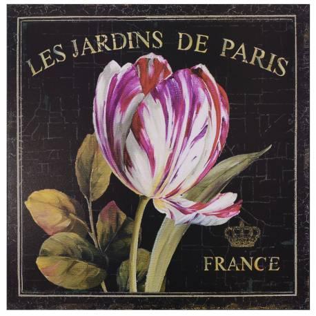 Plaque Murale à Poser Décoration Rétro Style Déco Publicitaire Motif Tulipe en Fer Fond Noir 0,2x30x30cm