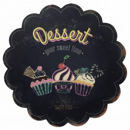 Plaque Décorative Murale à Poser Inspiration Panneau de Présentation Motif Dessert Cupcake 0,2x31x31cm