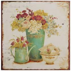 Plaque Murale ou à Poser au Motif Compositions Florales sur fond Clair de Forme Carrée en Fer 0,2x30x30cm