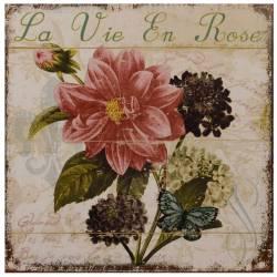 """Jolie Plaque Murale Cadres de Forme Carré en Fer avec Impression Motifs Floraux et Inscription """"La Vie En Rose"""" 0,2x30x30cm"""