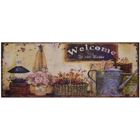 Plaque Murale ou à Poser au Motif Compositions Florales sur fond Vieilli de Forme Rectangle en Fer 0,2x20x50cm