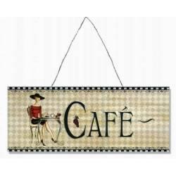 """Plaque Décorative Murale ou à Poser Style Affiche à l'Ancienne Inscription """"CAFE"""" en Fer 0,2x20x50cm"""