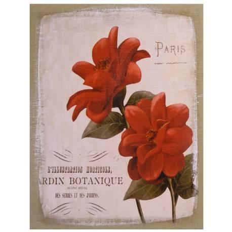 """Tableau Mural ou à Poser au Motif Floral Toile Imprimée """"Jardin Botanique"""" sur Cadre en Bois 2x35x45cm"""