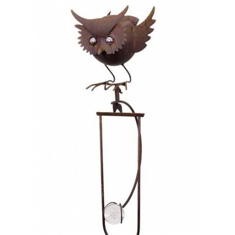 mobile de jardin balancier planter ou tuteur pour plantes motif chouette en fer et verre. Black Bedroom Furniture Sets. Home Design Ideas