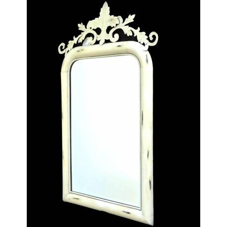 Miroir Trumeau Glace Murale Rectangulaire en Fer Blanc Motif Fleur de Lys 57x92cm