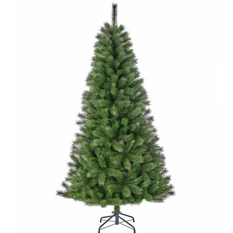 Sapin Artificiel Arbre de Noël sur Pied à Poser Joliment Fourni Branches et Epines en Synthétique et Métal 114x114x215cm