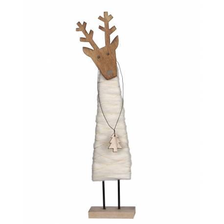 Statuette Statue de Noël Sujet Décoratif Représentation Cerf sur Socle en Bois et Laine 5,5x9x36,5cm