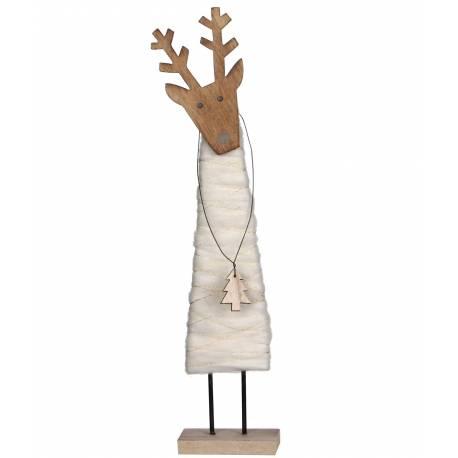 Statuette Statue de Noël Sujet Décoratif Représentation Cerf Pendentif Sapin sur Socle en Bois et Laine 12x16x55,5cm