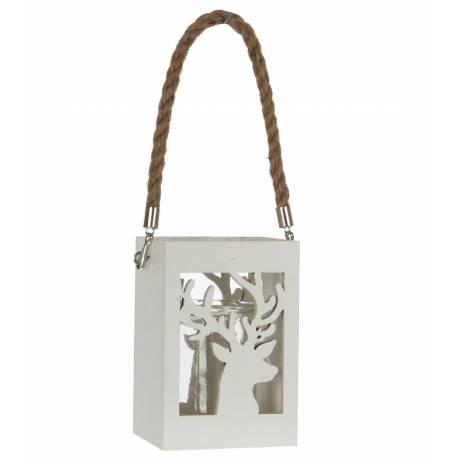 Lanterne à Poser ou à Suspendre Lampion pour Bougie en Bois Patiné Blanc avec Verrine et Cordelette 10x10x33cm