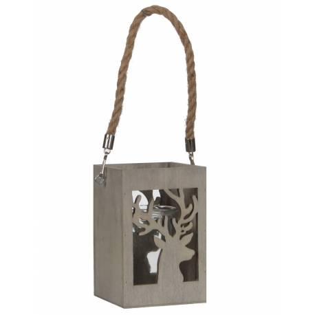 Lanterne à Poser ou à Suspendre Lampion pour Bougie en Bois Patiné Gris avec Verrine et Cordelette 10x10x33cm