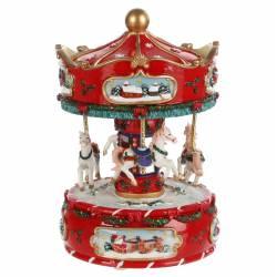 Magnifique Mobile à Remonter Décoration de Noël Animée Manège de Chevaux Rotatif et Musical en Résine 16x16x16cm
