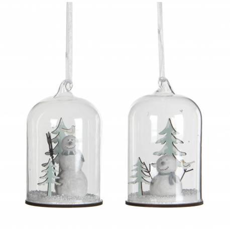 Ensemble de 2 Boules de Noël Décoration Sapin Arbre de Noël Globe en Verre avec Bonhomme de Neige 6,5x6,5x10cm