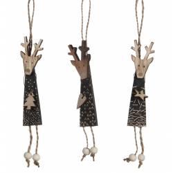 Décorations de Noël à Suspendre Trio de Cerfs en Bois Noir avec Pendentif Sapin Etoile et Coeur 1x3x19cm