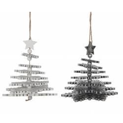 Duo de Suspensions Décoratives pour Arbre de Noël Forme Sapin de Noël avec Etoile en Bois Blanc et Argenté 7,5x7,5x13cm