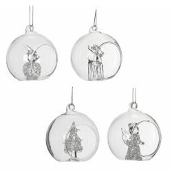 Lot de 4 Boules de Noël Décorations de Sapin de Noël Suspension en Verre Motifs Bonhomme de Neige Cerf Sapin Ange Ø7cm