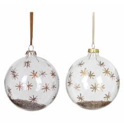 Duo de Boules de Noël Ronde en Verre Décoré de Flocons Peint et Poudre de Métal à L'intérieur Suspension Sapin de Noël Ø10cm