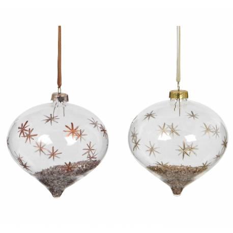 Duo Boules Noël Forme Poire Verre Décor Flocons Peints et Poudre de Métal à L'intérieur Suspension Sapin de Noël 9x10x10cm