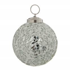 Boule de Noël Ronde en Verre Craquelé Couleur Argentée Décoration de Fête Suspension Sapin Arbre de Noël Ø8cm