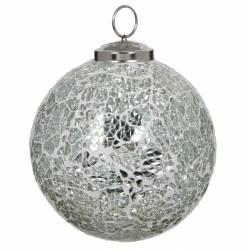 Boule de Noël Ronde en Verre Craquelé Couleur Argentée Décoration de Fête Suspension Sapin Arbre de Noël Ø10cm