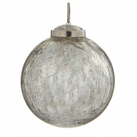 Boule de Noël Ronde en Verre Craquelé Couleur Argentée Décoration de Fête Suspension Arbre Sapin de Noël Ø8cm