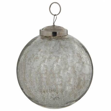 Boule de Noël Ronde en Verre Craquelé Couleur Argentée Décoration de Fête Suspension Arbre Sapin de Noël Ø10cm
