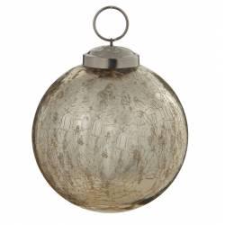 Boule de Noël Ronde en Verre Craquelé Couleur Dorée Décoration de Fête Suspension Arbre Sapin de Noël Ø8cm