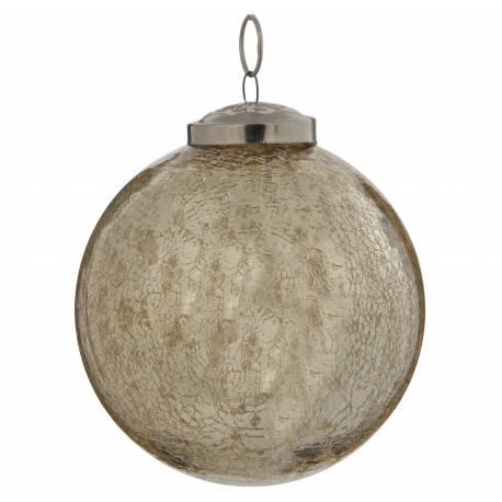 Boule de Noël Ronde en Verre Craquelé Couleur Dorée Décoration de Fête Suspension Arbre Sapin de Noël Ø10cm