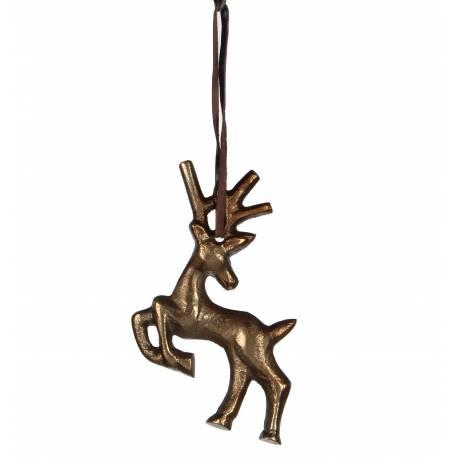 Suspension Décorative de Noël Pendant pour Sapin Arbre de Noël Motif Cerf Métal Couleur Laiton 0,5x8,5x11,5cm