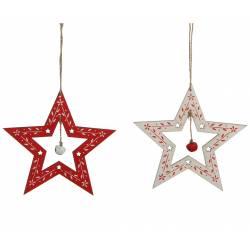 Lot 2 Etoiles en Bois à Grelot à Suspendre Décoration de Noël Suspensions Sapin Arbre de Noël 15x15x15cm