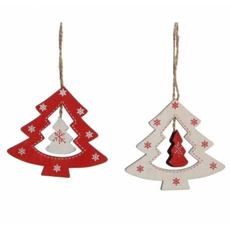 Lot 2 Sapins Ajourés en Bois à Suspendre Décoration de Noël Suspensions Sapin Arbre de Noël 0,5x8x9cm