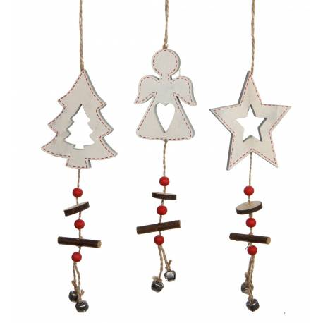 Lot 3 Décorations de Noël à Suspendre Motifs Sapin Angelot Etoile en Bois Blanc Suspension pour Arbre de Noël 0,5x7x32cm