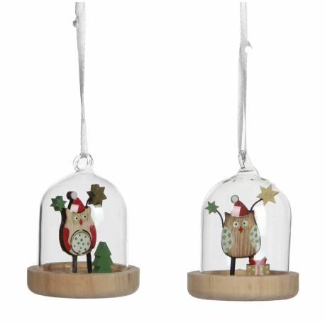 Ensemble de 2 Boules de Noël Décoration Sapin Arbre de Noël Globe en Verre Socle Bois Motif Chouette Hibou 6,5x6,5x8cm