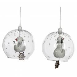 Lot de 2 Boules de Noël Décorations de Sapin de Noël Suspension en Verre Motifs Bonhomme de Neige et Flocons de Neige Ø8cm