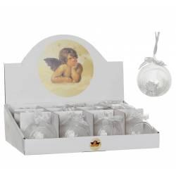 Jolie Boule de Noël Décoration de Sapin de Noël Suspension en Verre Motif Ange Chérubin Ø7cm