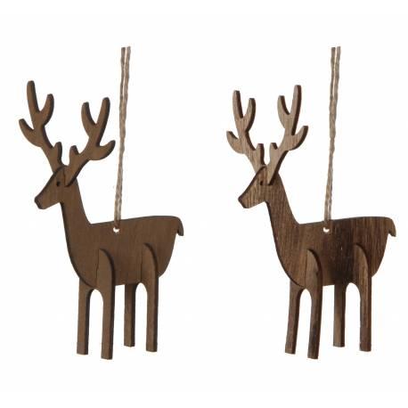 Duo de Suspensions Décoratives de Noël Originale Esprit Nature Représentation Cerfs en Bois Marron 4,5x7,5x10cm