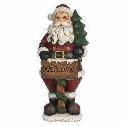 Père Noël Géant Statue Représentation du Père Noël avec Sapin et Pancarte WELCOME Intérieur Extérieur 53x63x150cm